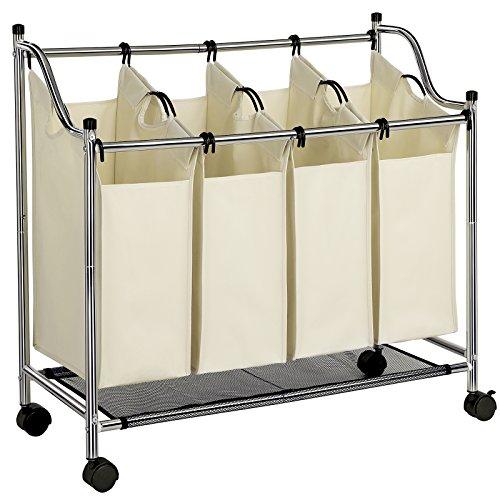 songmics w schesortierer w schekorb w schewagen mit 4 f cher beige lsf005s atebonni. Black Bedroom Furniture Sets. Home Design Ideas