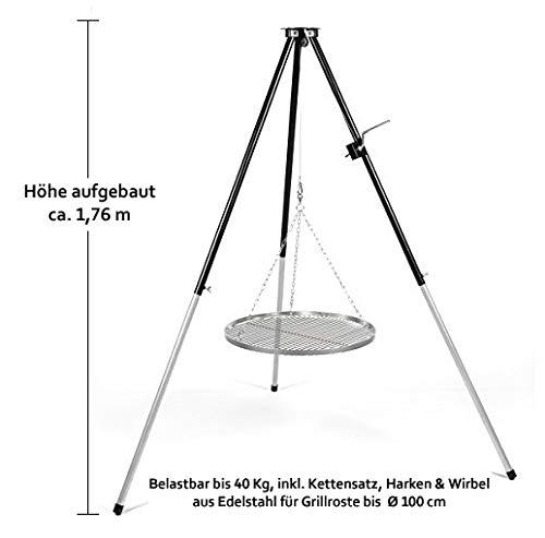 120 cm Kettensatz Edelstahl für Grillrost Aufhängung Grillkette Dreibein Kette